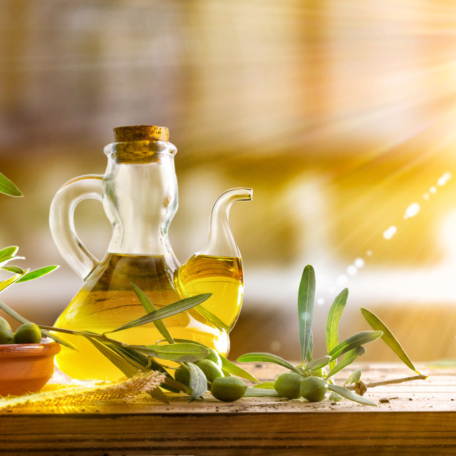 """""""Traditional olive oil from organic harvest in rustic country kit"""" stock image"""