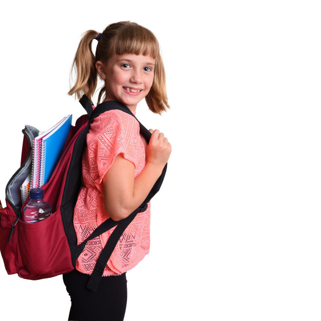 """""""Little girl with backpack with school supplies happy isolated"""" stock image"""