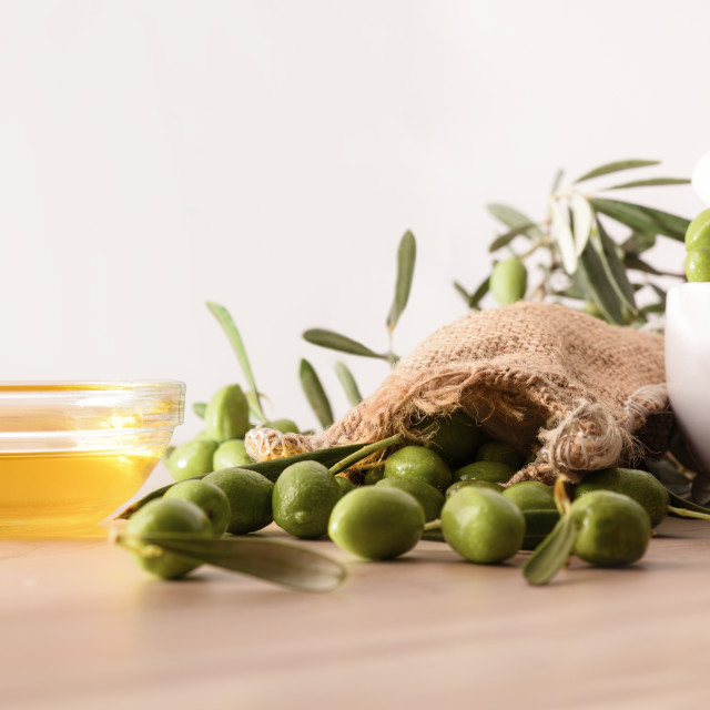 """Olive oil essence for body and culinary care front view"" stock image"