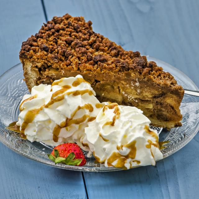 """""""Apple pie on blue wood"""" stock image"""