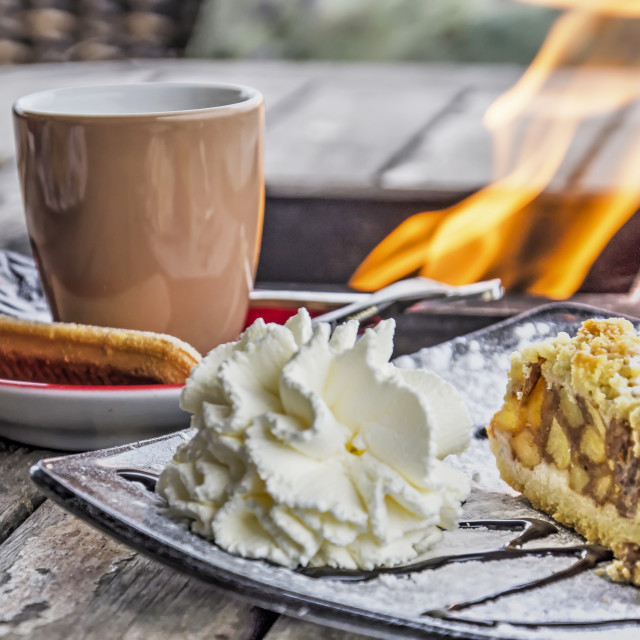"""""""Coffee, apple pie and burning flame"""" stock image"""