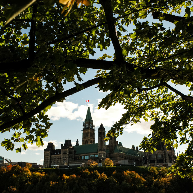 """Canadian Parliament Hill through the trees"" stock image"