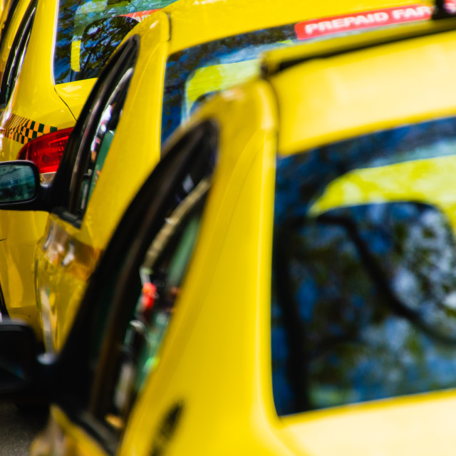 """Row of yellow taxi cabs wait for passengers in a busy city"" stock image"