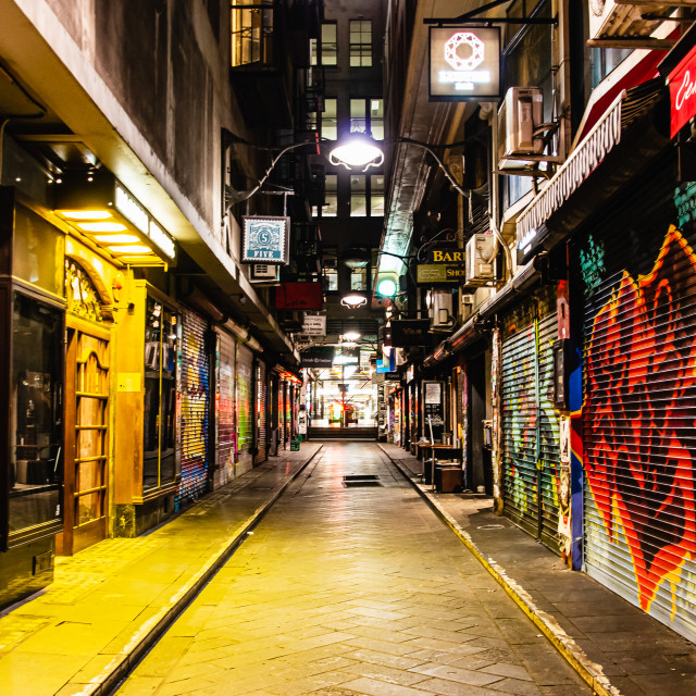 """Deserted lane at night with graffiti on closed shutters"" stock image"