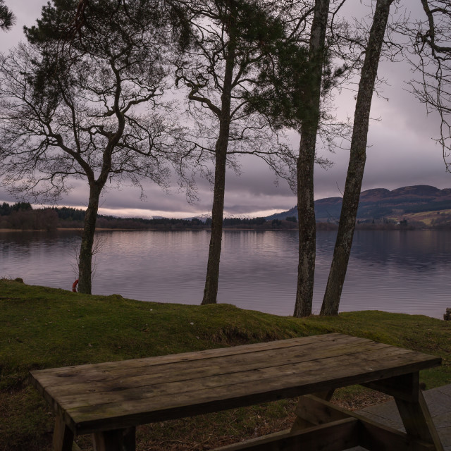 """""""Early evening at the lake of Menteith."""" stock image"""