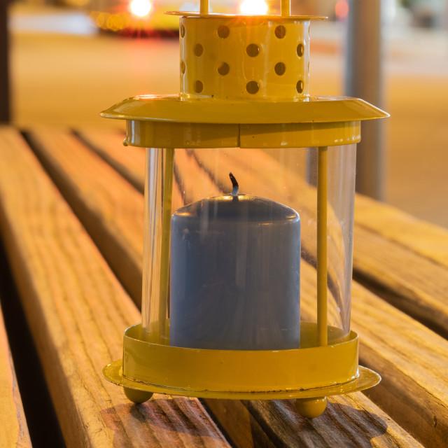 """lantern on a bench"" stock image"
