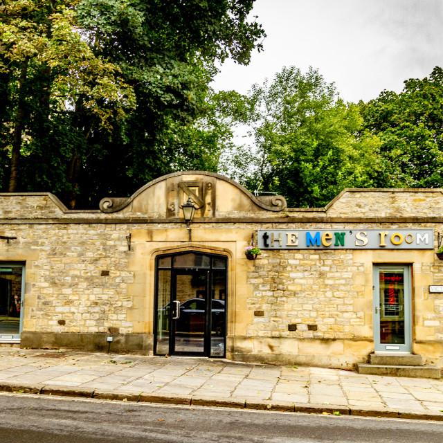 """The Mens Room, Friars Corner, Victoria Road, Richmond, North Yorkshire."" stock image"
