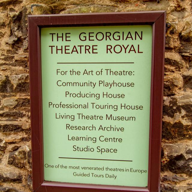 """The Georgian Theatre Royal, Sign, Richmond, North Yorkshire, UK"" stock image"