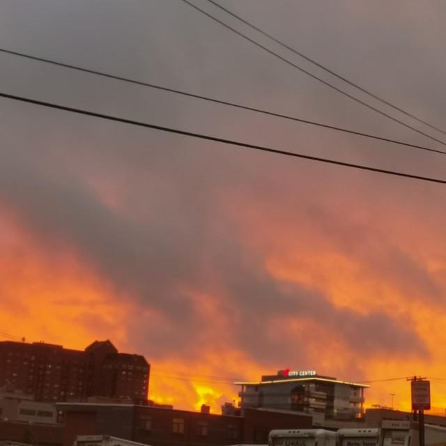 """""""Orangy Sunset"""" stock image"""