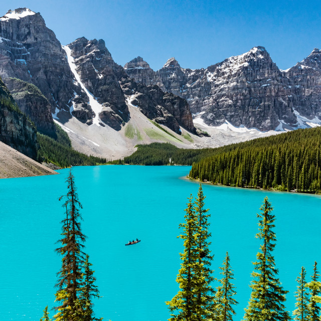 """Canoe on the Moraine Lake"" stock image"