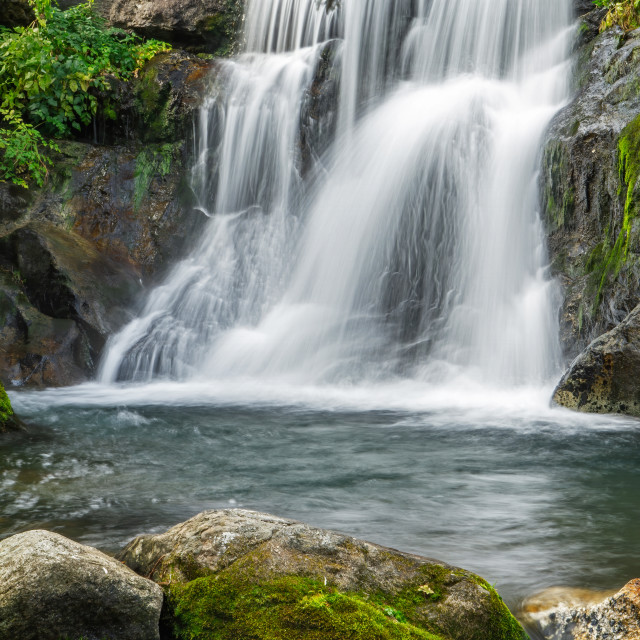 """""""Beautiful waterfall in Spain, from Vall de Nuria National Park in Catalonia, with long exposure technique"""" stock image"""