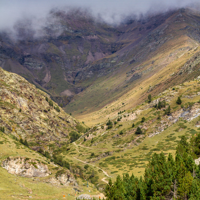 """""""Vall de nuria National Park in Catalonia of Spain in a cloudy day"""" stock image"""