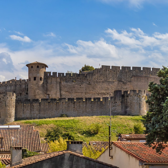 """""""View of famous old castle of Carcassonne in France."""" stock image"""