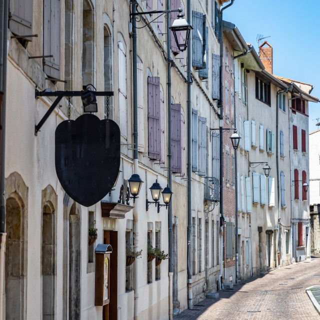 """""""Typical old street in french town Castres"""" stock image"""