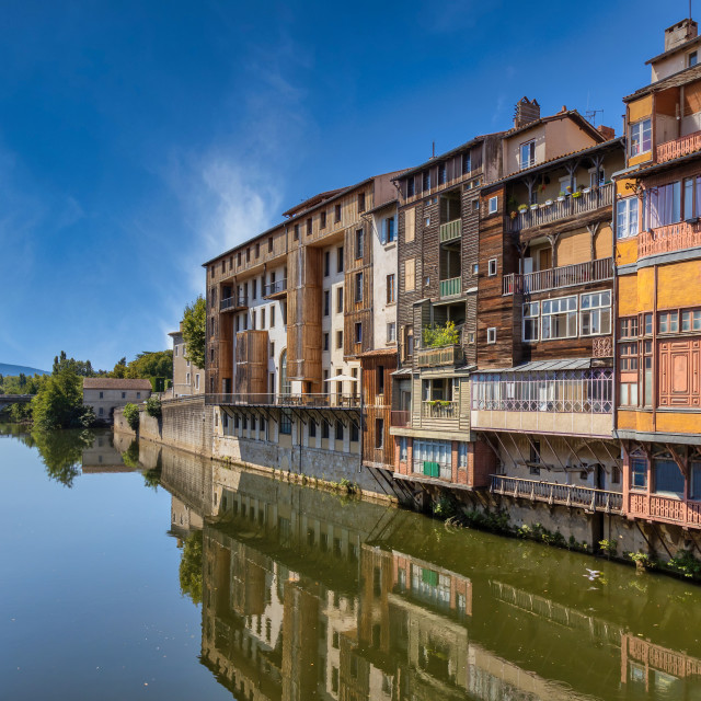 """""""Nice buildings on the river Tarn in French town Castres."""" stock image"""