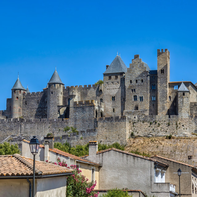 """View of famous old castle of Carcassonne in France."" stock image"