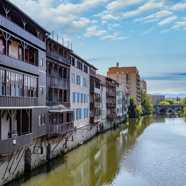 """Nice buildings on the river Tarn in French town Castres."" stock image"