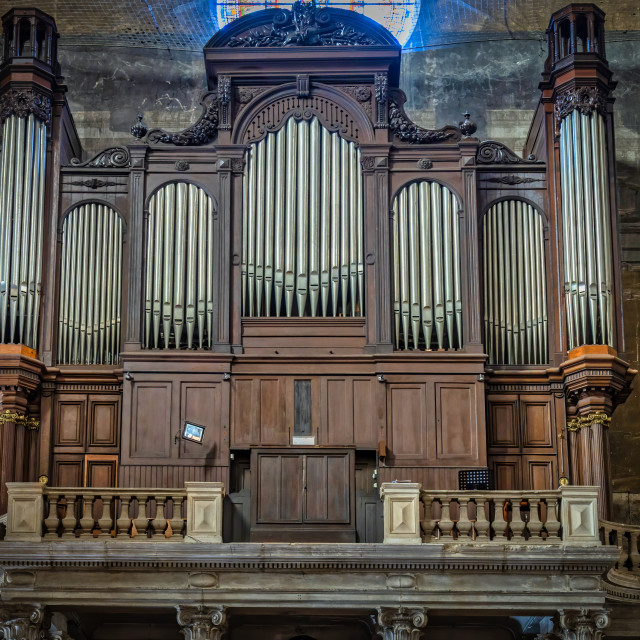 """Inside of beautiful, famous cathedral of town Castres in France. Nice old organ musical instrument."" stock image"