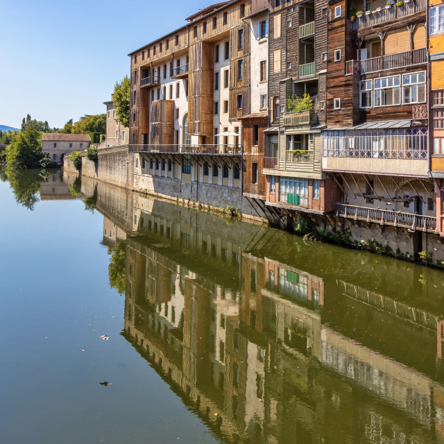"""Nice buildings on the river Tarn in French town Castres.Nice buildings on the river Tarn in French town Albi."" stock image"
