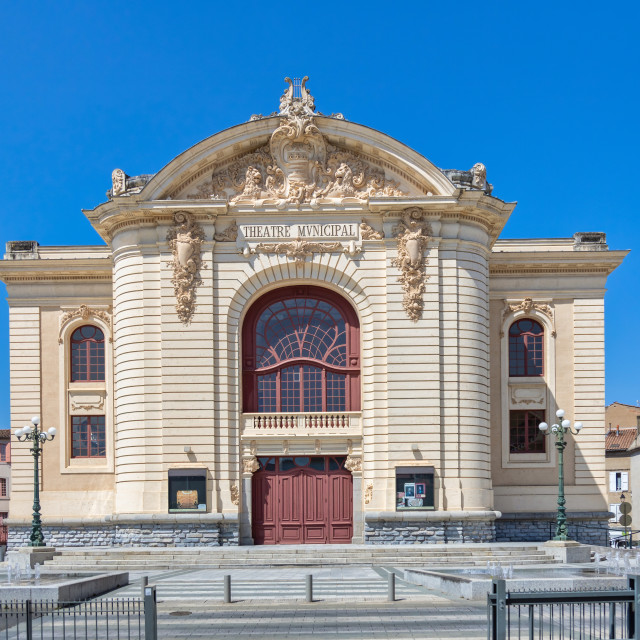 """Municipal theater in old town Castres in France"" stock image"