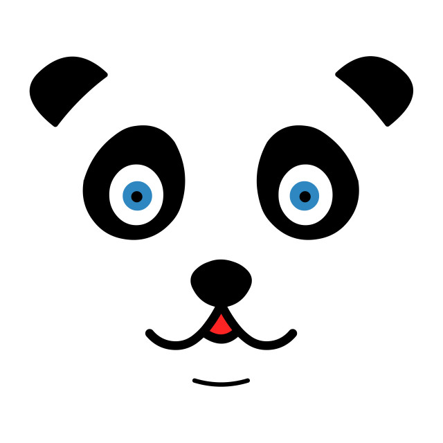 """""""Cute panda face with mouth"""" stock image"""