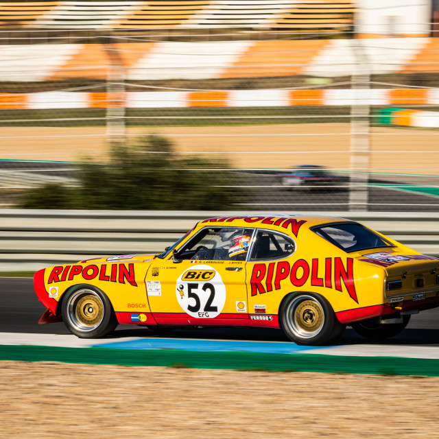 """A Ford Capri classic race car during Estoril Classics 2020"" stock image"