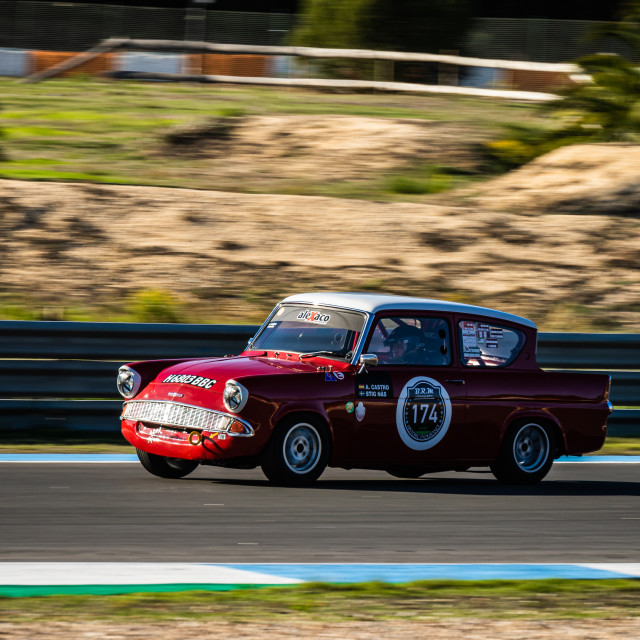 """A Ford Anglia classic race car during Estoril Classics 2020"" stock image"