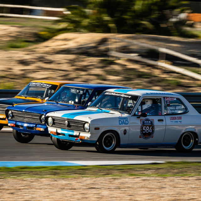 """A trio of Datsun classic race cars during Estoril Classics 2020"" stock image"