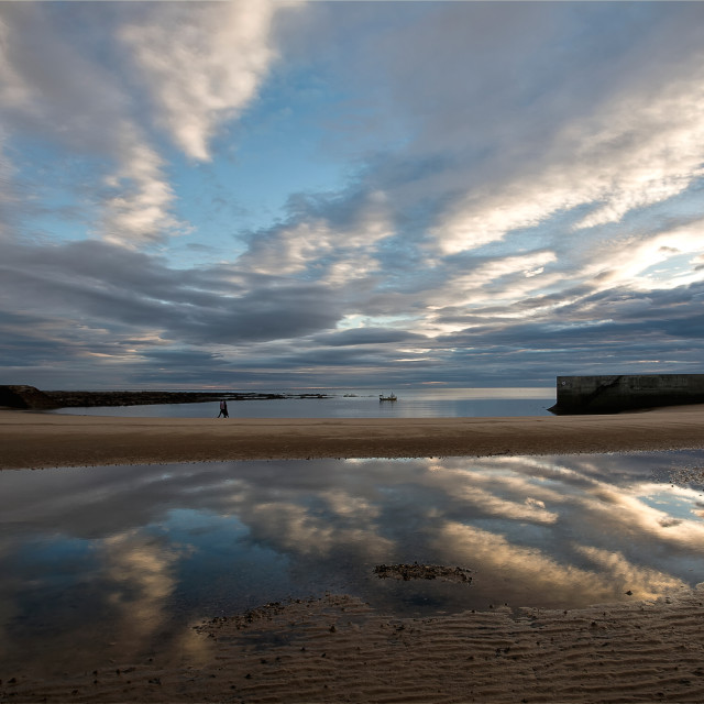 """Reflections in Cullercoats Bay"" stock image"
