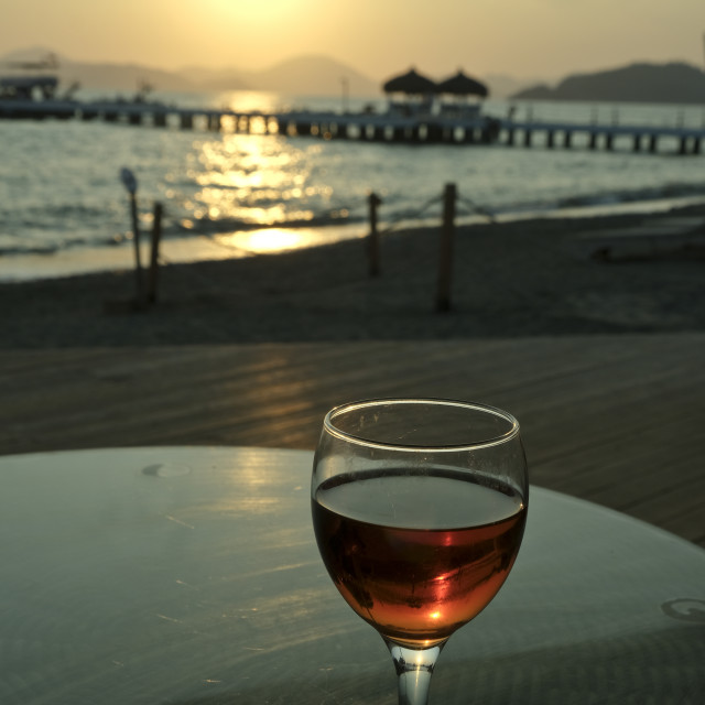 """Sunset in Turkey with wine #03"" stock image"