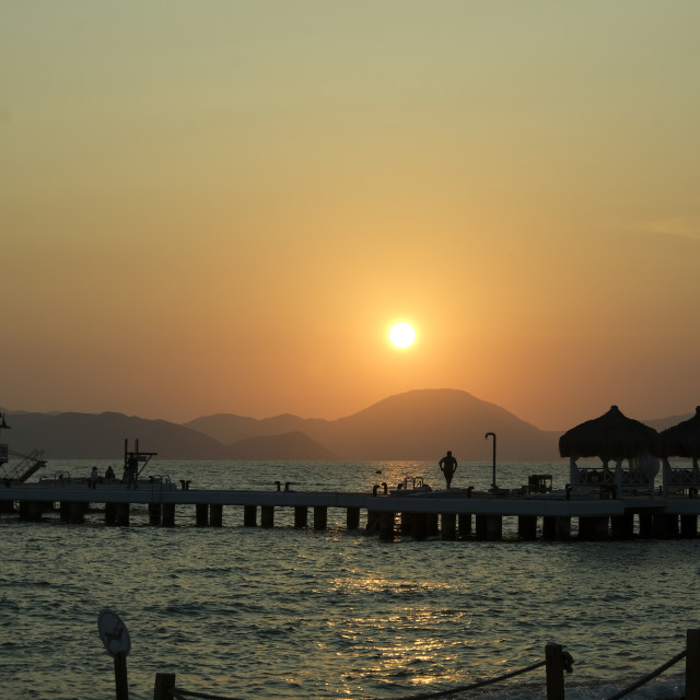 """Sunset over the sea in Turkey"" stock image"