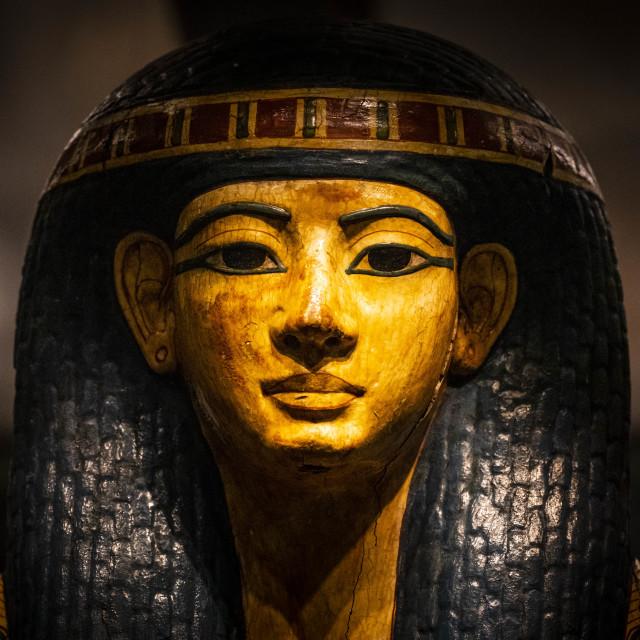 """""""Coffin of Nespawershefyt from Fitzwilliam Museum, Cambridge UK."""" stock image"""