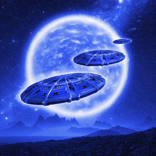 """Spaceships over an alien planet, illustration"" stock image"