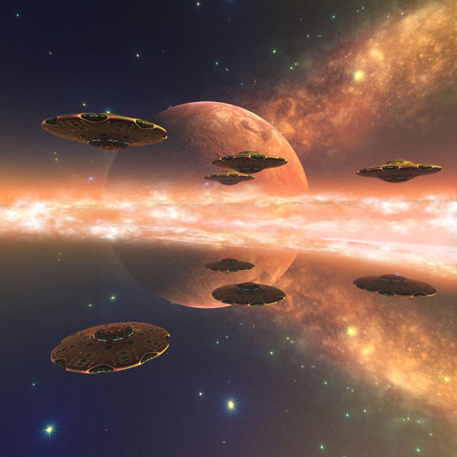 """Spaceships approaching alien planet, illustration"" stock image"