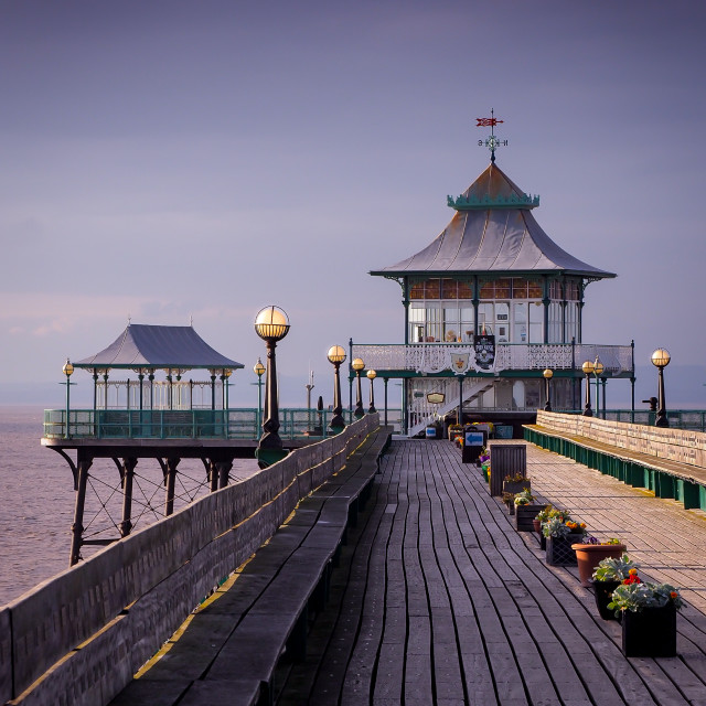 """Clevedon Pier Sunset"" stock image"