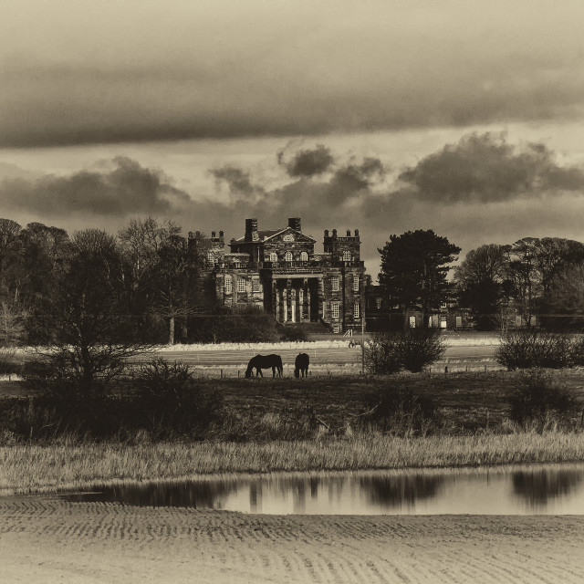 """Seaton Delaval Hall in sepia"" stock image"