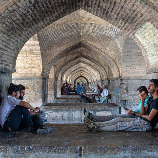 """UNDERNEATH KHAJU BRIDGE"" stock image"