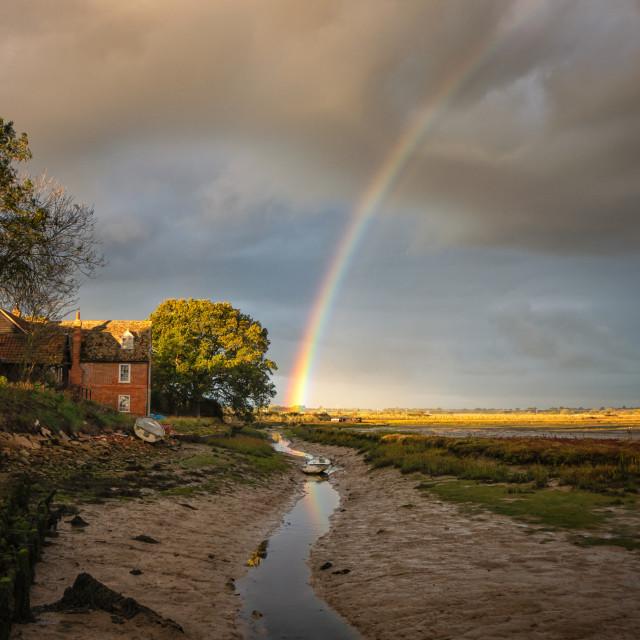 """Rainbow Sunrise Over Landermere Quay"" stock image"