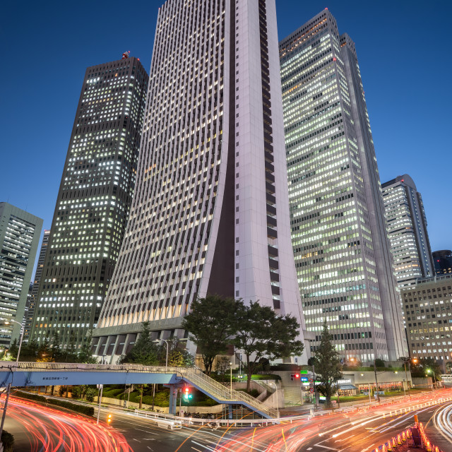 """Cityscape at Dusk in Shinjuku District, Tokyo, Japan"" stock image"