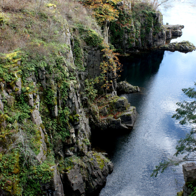"""""""The Campbell River canyon in the Elk Falls Provincial Park on Vancouver Island"""" stock image"""