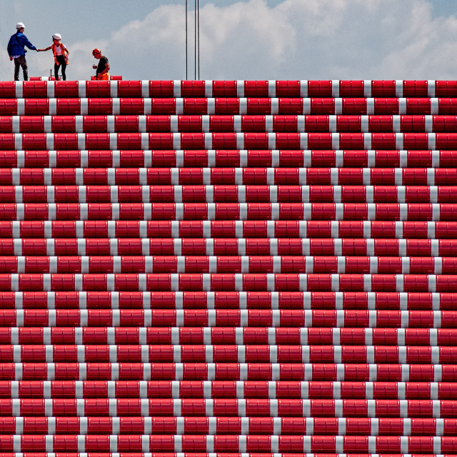 """""""High Level Meeting at The Mastaba by Christo"""" stock image"""