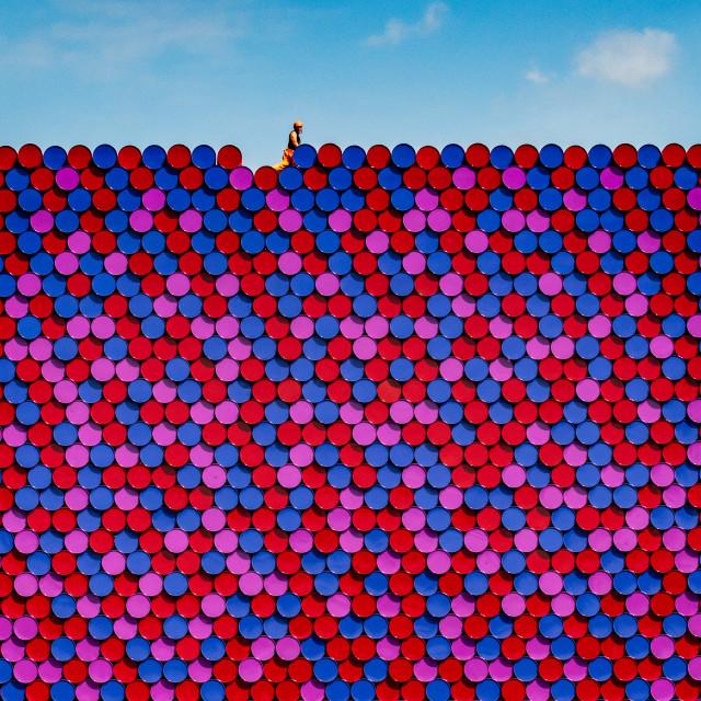 """The Mastaba by Christo - nearly finished!"" stock image"