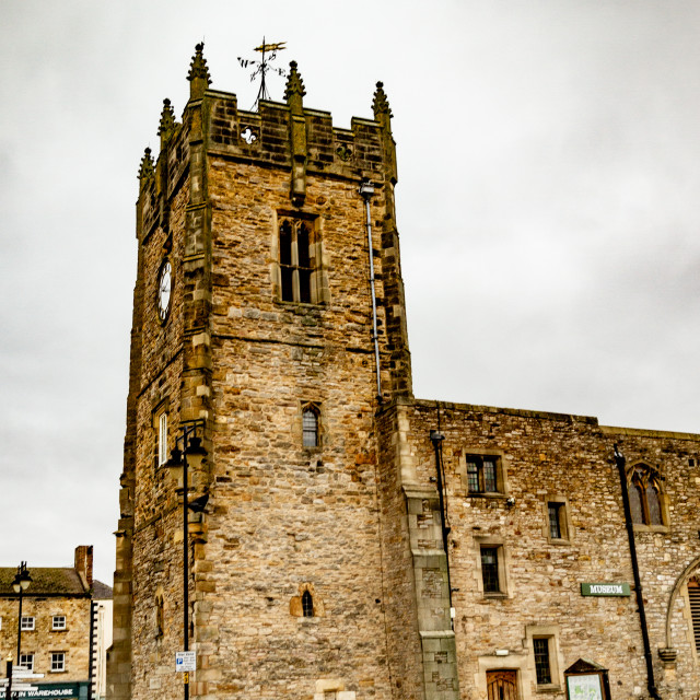 """""""Former Holy Trinity Church Tower, a grade 1 listed building in The Market Place, Richmond, North Yorkshire."""" stock image"""