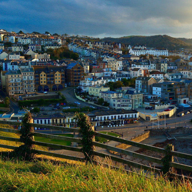 """""""Hilltop Town At Sunset"""" stock image"""