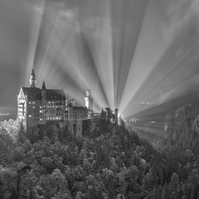 """""""Neuschwanstein Castle (black & white)"""" stock image"""