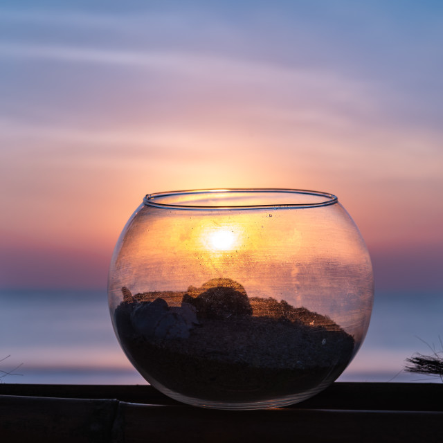 """Sunset through fishbowl // Jimbaran Beach"" stock image"