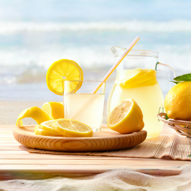 """Freshly squeezed lemonade on the beach"" stock image"