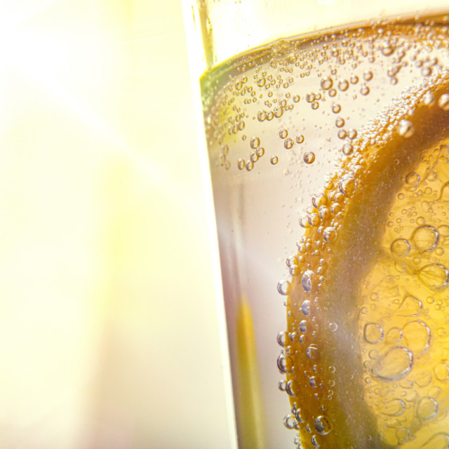 """Lemon slice dipped in sparkling water in glass with sunbeam"" stock image"