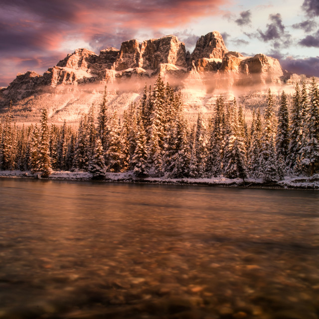 """Castle Mountain Evenings"" stock image"