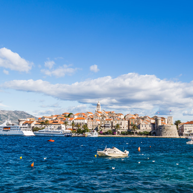 """""""Letterbox crop of Korcula Town"""" stock image"""